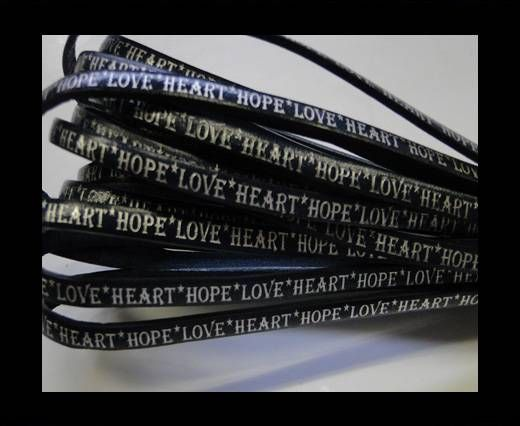 Real Flat Leather-5MM-Hope Love Heart style-Blue-Silver