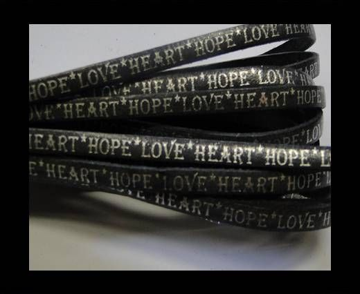 Real Flat Leather-5MM-Hope Love Heart style-shiny words black