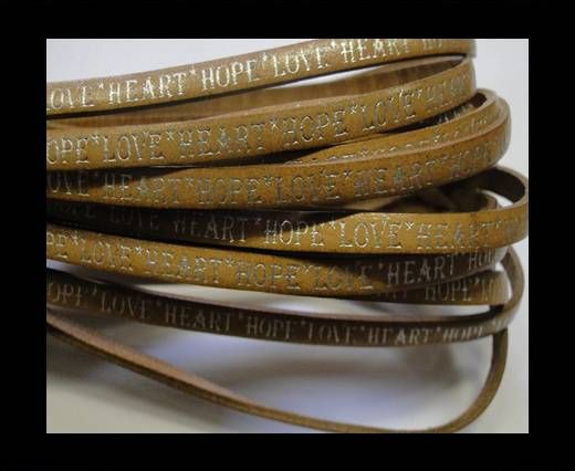 Real Flat Leather-5MM-Hope Love Heart style-shiny words bone