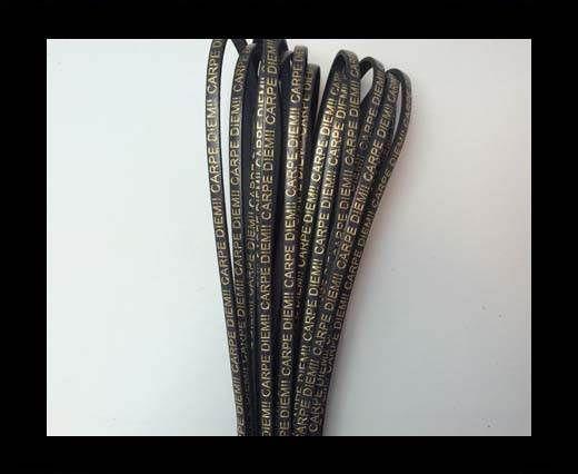 Real Flat Leather-CARPIDIEM-black with gold
