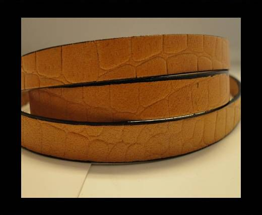 Real Leather Croco Print - Ochre-10mm