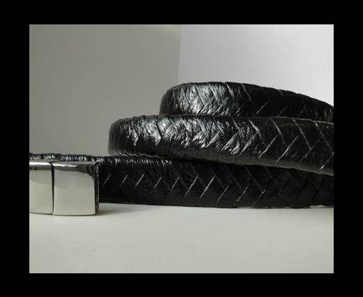 Real Nappa Flat Woven Cords - 15 mm - Shiny Dark Black