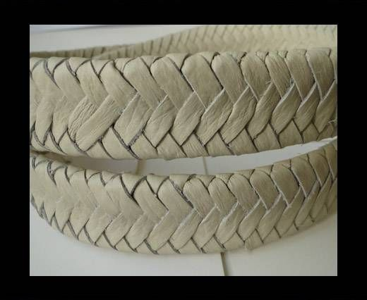 Real Nappa Flat Woven Cords - Beige - 25mm
