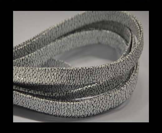 Real Nappa Flat Leather cords -Lizard-Grey - white-10mm