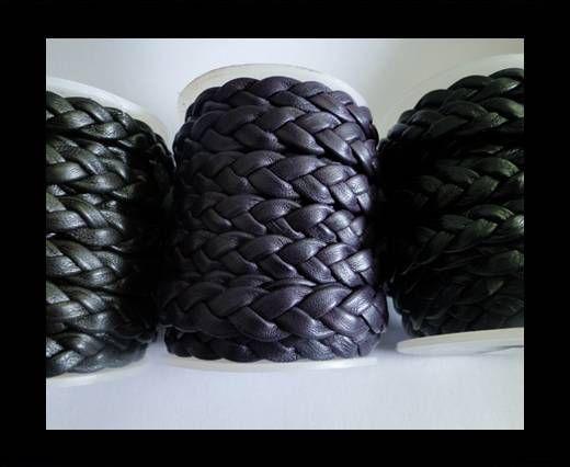 Real Nappa Leather -Flat-Braided-Black,Purple, Dark Brown-10mm