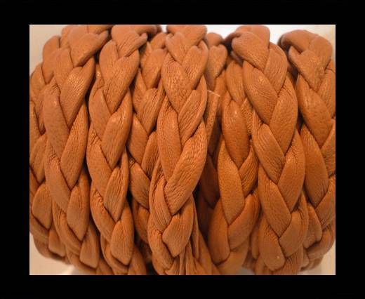 Real Nappa Leather -Flat-Braided-Saddle Brown-10mm