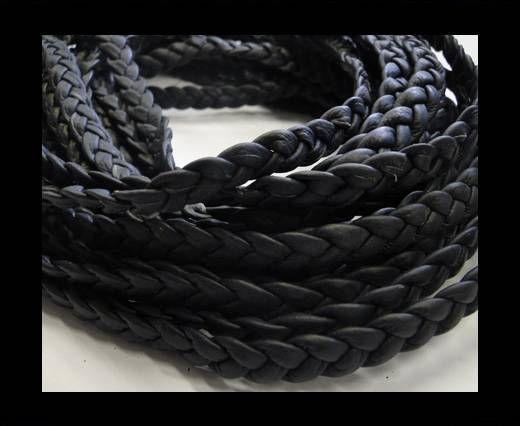 Real Nappa Leather -Flat-Braided-Dark blue-10mm