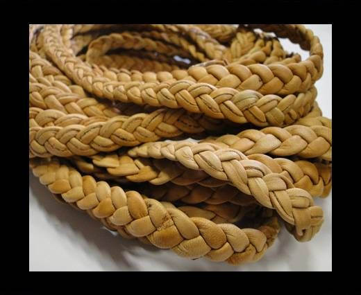 Real Nappa Leather -Flat-Braided-Tan colour-10mm