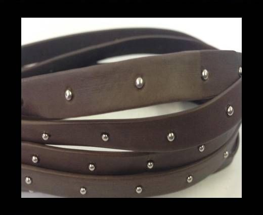 Real Nappa Leather with studs-10mm-dark taupe