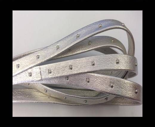 Real Nappa Leather with studs-10mm-silver