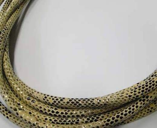 Real Nappa Leather Cords Round-Snake Skin cream-6mm