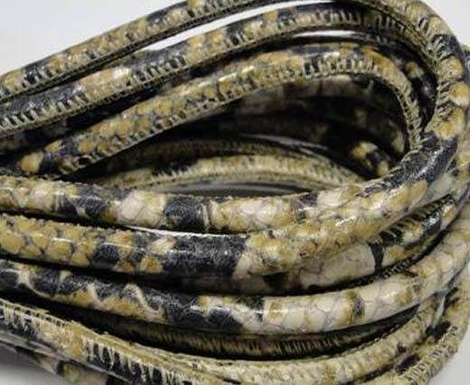 Real Nappa Leather Cords Round-Snake Skin Green white Pyton -6mm
