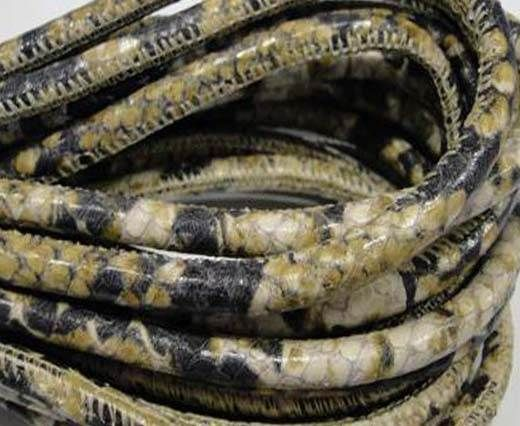 Real Nappa Leather cords Round-Snake Skin Green white python-6mm