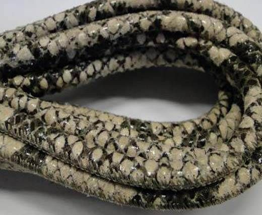 Real Nappa Leather cords Round-Snake Skin Light grey python-6mm