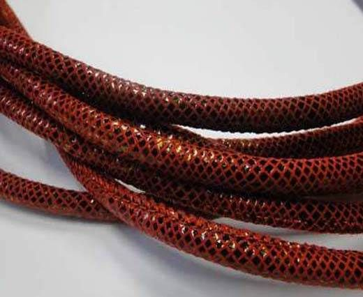Real Nappa Leather Cords Round-Snake Skin red-6mm