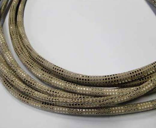 Real Nappa Leather Cords Round-Snake Skin version 2cream-6mm