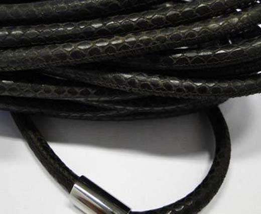 Real Nappa Round-Snake Skin Dark brown-6mm