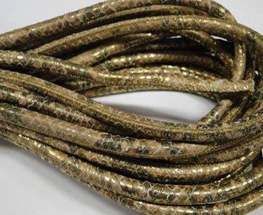 Real Nappa Round Plain Style-6mm-Gold Python