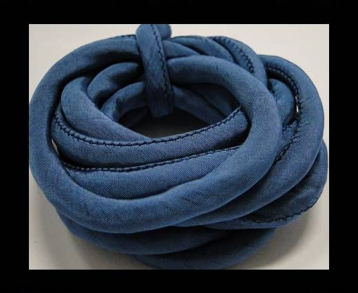 Real silk cords with inserts - 8 mm - Aquamarine