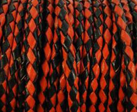 Round Braided Leather Cord SE/B/22-Red-Black - 3mm