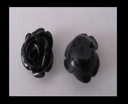 Rose Flower-14mm-Black