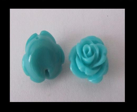 Rose Flower-14mm-Turquoise