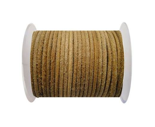 Round Leather Cord Oily Natural -4mm