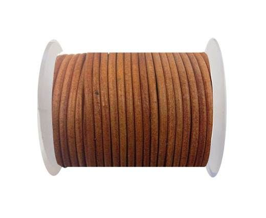 Round leather cord-3mm-Vintage orange