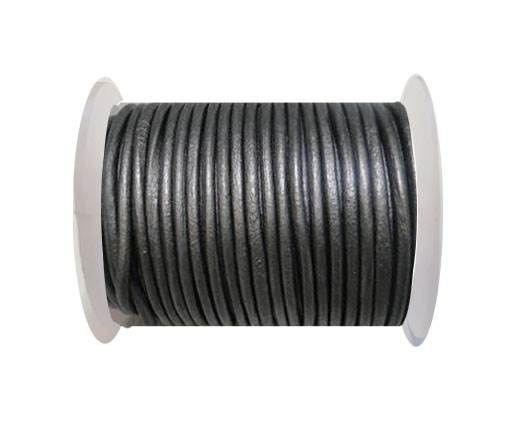 Round Leather Cord 4mm- Metallic Grey