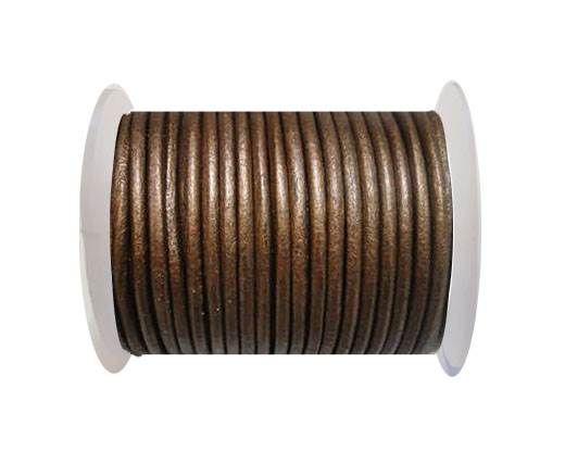 Round Leather Cord 4mm- Metallic Tamba