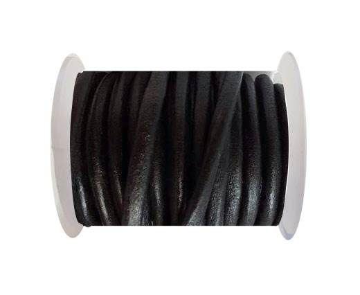 Round Leather Cord 4mm-SE.Black