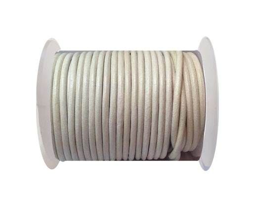 Round Leather Cord 4mm-SE.white