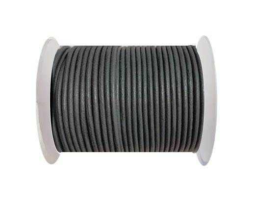 Round Leather Cord -1mm - MEDIUM GREY