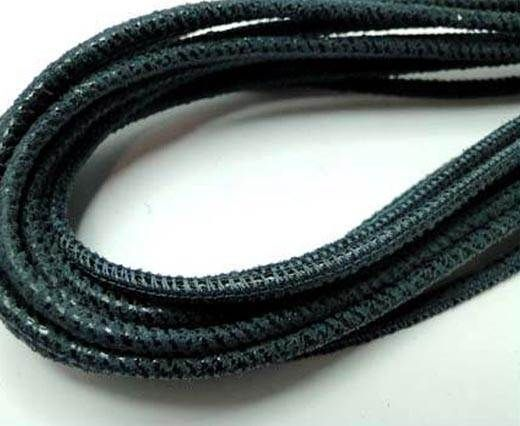 Round leather cord Stitch-3mm-Jeans Blue