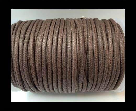 Round Wax Cotton Cords - 3mm  - Coffee Brown