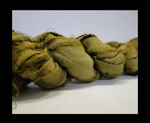 Sari silk ribbons- Khaki