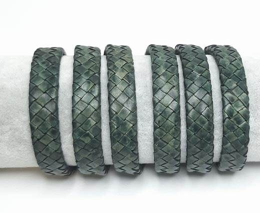 Oval Braided Leather Cord-15.5 by 4.5mm-SE_ Vintage Green