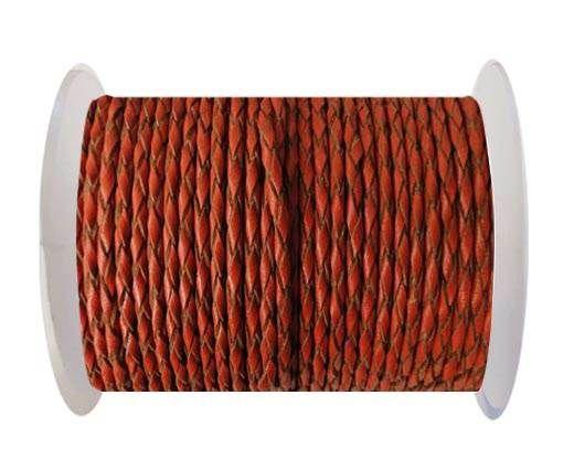 Round Braided Leather Cord SE/B/2016-Brick - 4mm
