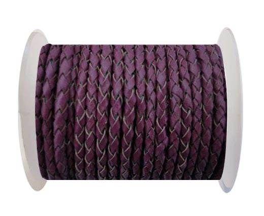Round Braided Leather Cord SE/B/543-Plum - 4mm