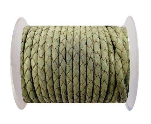 Round Braided Leather Cord SE/B/516-Pastel Green-8mm