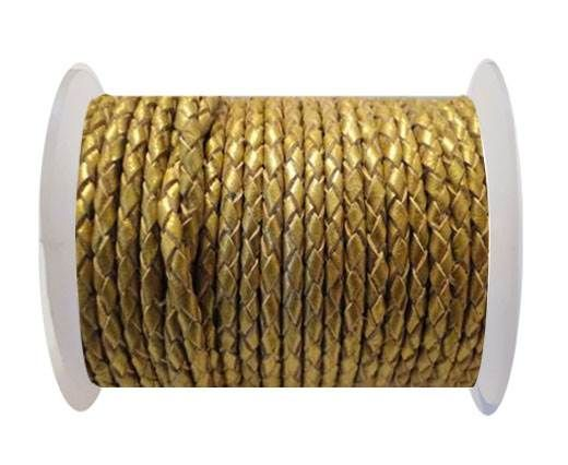 Round Braided Leather Cord SE/M/Golden - 5mm