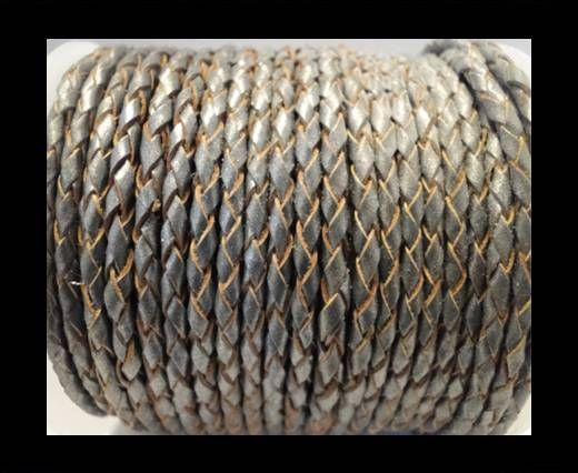 Round Braided Leather Cord SE/B/2026-Dark Grey - 6mm