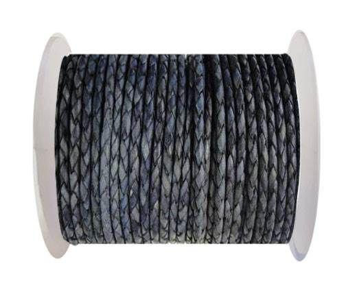 Round Braided Leather Cord SE/DB/13-Vintage Purple - 3mm