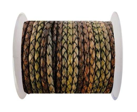 Round Braided Leather Cord SE/DM/01-Vintage Night Shades - 3mm
