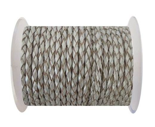 Round Braided Leather Cord SE/M/Silver - 4mm