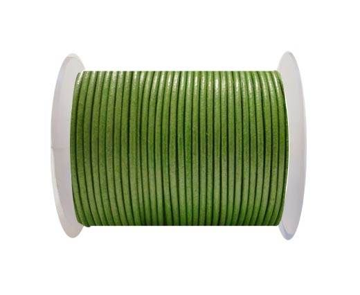 Round Leather Cord SE/R/Metallic Olive Green - 3mm