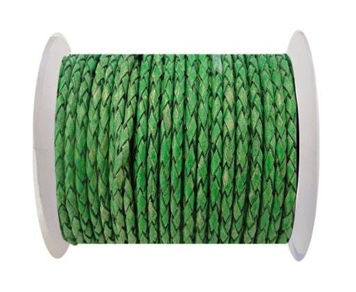 Round Braided Leather Cord SE/PB/01-Vintage Moss Green-4mm