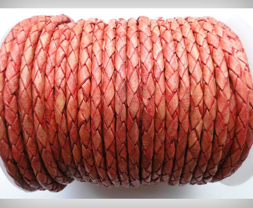 Round Braided Leather Cord SE/PB/05-Terracotta - 3mm