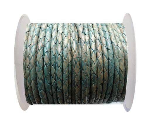 Round Braided Leather Cord SE/PB/08-Vintage Sea Blue - 8mm