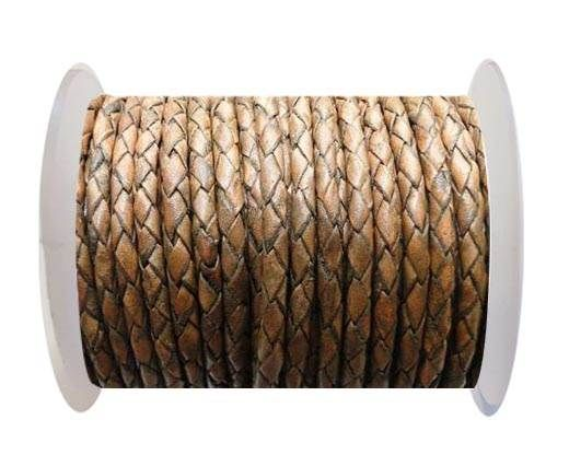 Round Braided Leather Cord SE/PB/11-Antique Brown - 5mm